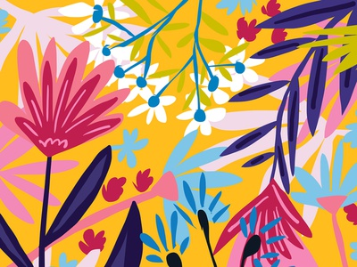 The Garden of My Mind bloom blossom wild jungle garden forest botanical flowers floral vibrant modern bohemian boho summer colorful graphic pattern