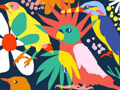 Flamboyant Unashamed and Free blossom floral parrot graphic forest jungle modern eclectic bohemian vibrant botanical nature wildlife boho colorful animals birds pattern