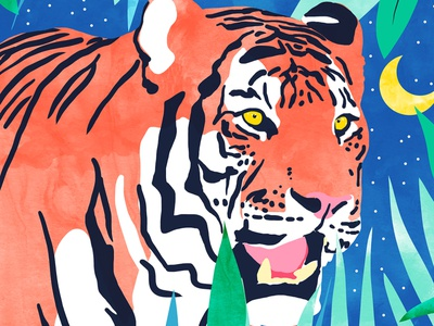 Tiger Forest india tropical nature botanical forest jungle stripes colorful animal vibrant modern cat tiger save the tiger wildlife watercolor