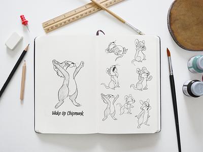 Wakeup Chipmunk Sketches sketch character animation cartoon chipmunk pencilsketch hand drawn