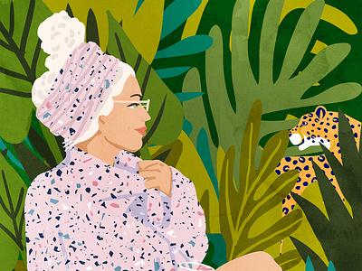 Guardian Angel animal woman design jungle illustration botanical graphic design