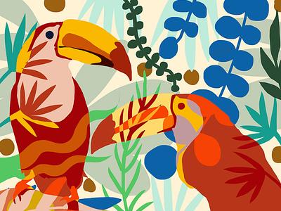 'Toucan' of My Love toucan birds illustration nature botanical animal graphic design
