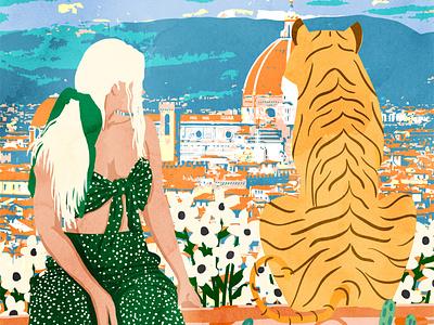 The Italian View illustration woman tiger travel bohemian boho portrait watercolor painting
