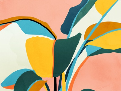 Nature Doesn't Hurry Yet All Is Accomplished colorful vibrant modern illustration nature plants watercolor painting