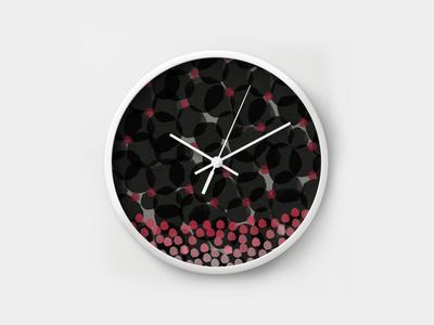 Dark Watercolor Florals Wall Clock
