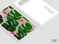 Monstera + Rose Business Card Template