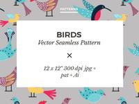 Hand Drawn Birds Seamless Vector Pattern