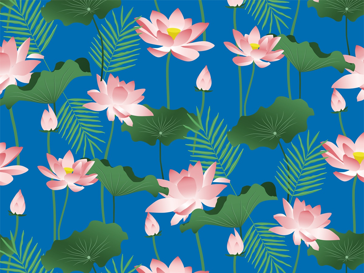 Lotus Love pond blossom bloom travel green blue pink leaves flowers bali nature floral botanical exotic tropical lotus pattern graphic design