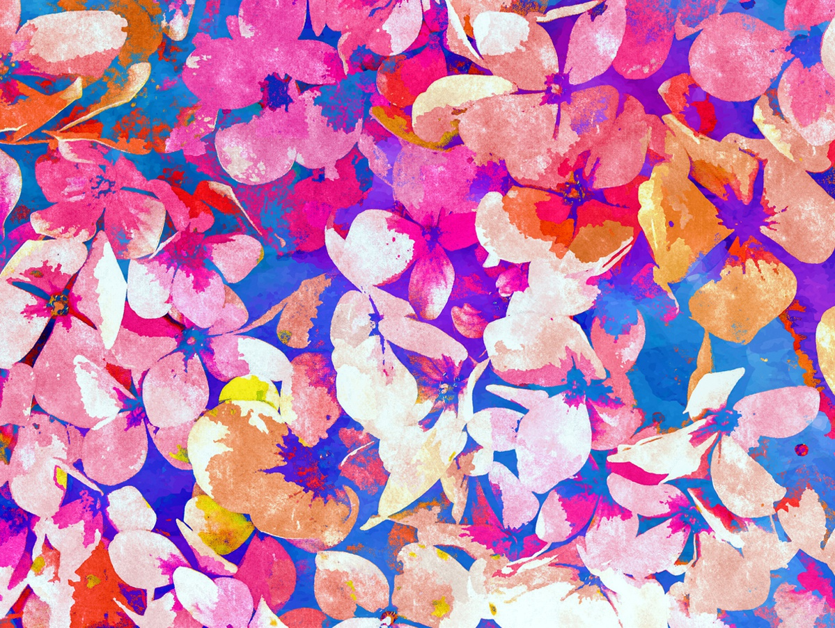 Floral Abundance blossom bloom petals pink summer flourish botanical new years winter purple colorful bold nature floral pattern watercolor