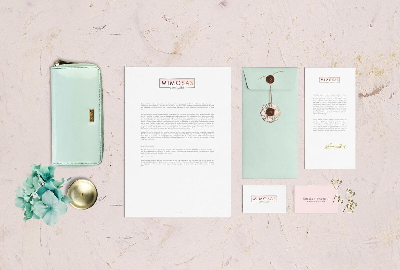 Branding & Print Design for Mimosas & Spice business card typography logo design identity digital logo illustration branding