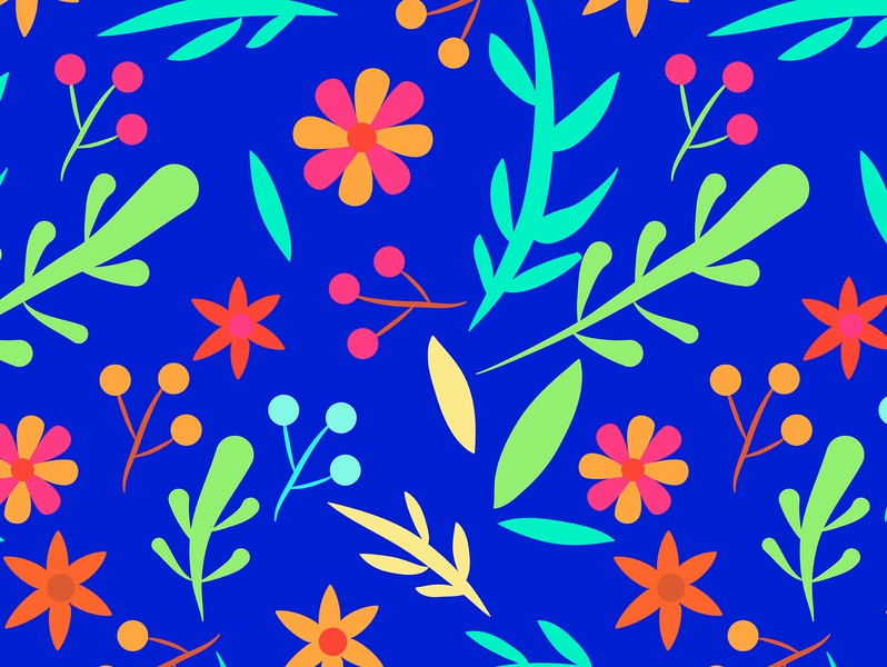 Blue Garden blue twigs summer fashion wild flower forest blossom bloom garden botanical pretty casual nature floral repeating seamless pattern graphic design