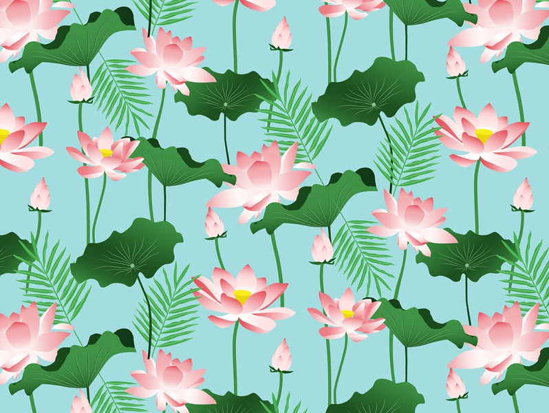 Lotus Love II pond blossom bloom travel green blue pink leaves flowers bali nature floral botanical exotic tropical lotus pattern graphic design
