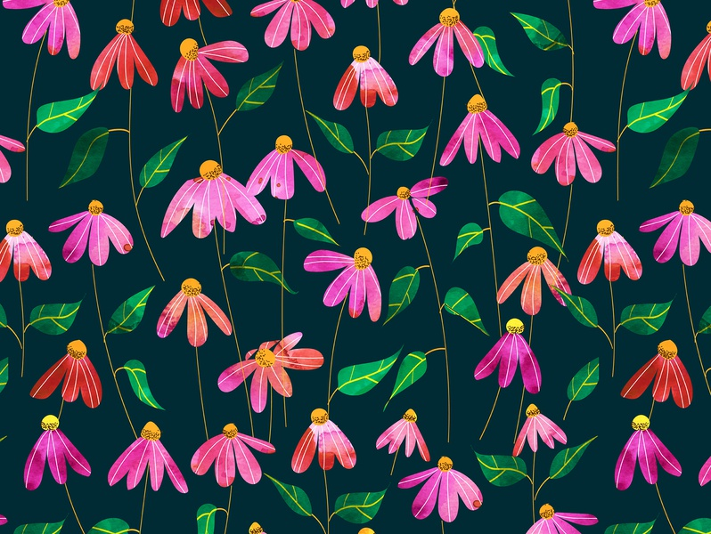 Touched By Love II flourish jungle forest garden exotic blossom bloom dark night flowers floral nature botanical repeating seamless watercolor pattern graphic design