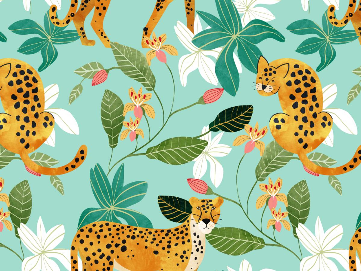 Cheetah Jungle garden floral seamless leopard cheetah nature botanical animal pattern animals wildlife travel jungle forest tropical tiger pattern graphic design