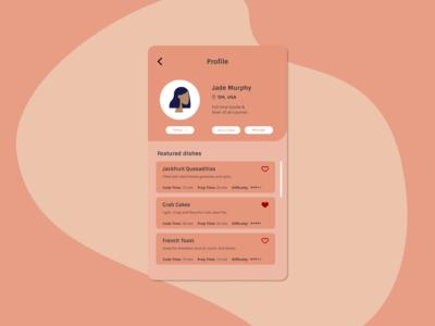 user profile for recipe sharing app