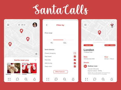 SantaCalls –Get yourself a Santa! ux ui santacalls santa christmas xmas