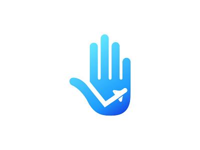 Hi Travel Logo Design traveling flight plane design logo journey blue travel hand