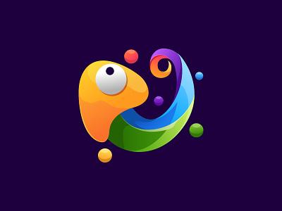 Colorful Chameleon Logo Design abstract modern futuristic colorful animal gecko chameleon