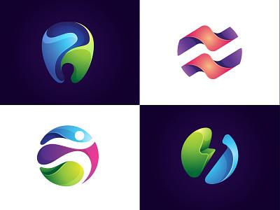 Gradient Colorful Logo Inspiration branding logo design abstract modern sport dental inspiration set gradient colorful