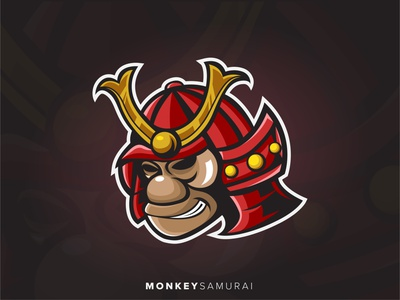 Samurai Monkey Logo Illustration inspiration logo esport head ape monkey animal ronin samurai