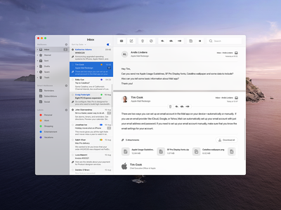 Apple Mail Concept app messaging design apple mail adobe xd product design macos interface icon ux ui