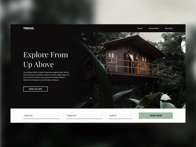 Treehouse Cabin Rental Landing Page web design webdesign web ux typography design clean ui simple design user interface design user inteface ui book now landingpage cabin rental tree house treehouse cabin booking landing page ui landing page