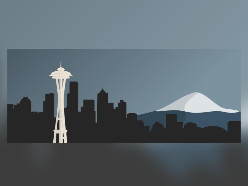 Seattle Skyline Illustration visual art visual design visual rainier sky skyscraper city mountain washington state washington skyline seattle skyline seattle vector design illustration ui