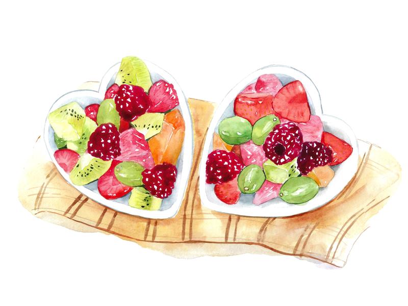Dessert, watercolour, fruit, heart bowls