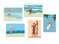 Flat illustration beach girl, summer, posters outdoor glamorous vintage old fashioned sunglasses swimsuit model magazine laughing board trendy illustration surfing face graphic tanning attractive day sunny nature tree