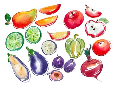 Fruit and vegetables watercolour illustration summertime diet vegetarian vegetable fruit illustration watercolour illustration
