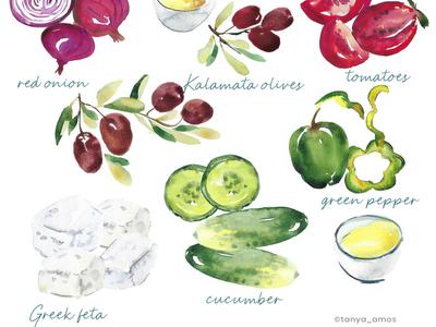 Vegetables, feta cheese watercolour illustration