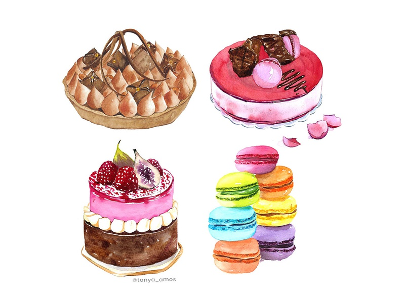 Watercolour dessert illustration