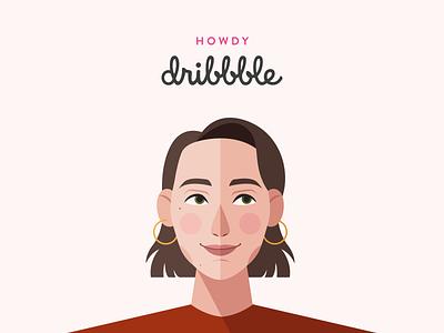 Howdy Dribbble! adobe illustrator howdy hello dribbble vector illustration portrait illustration