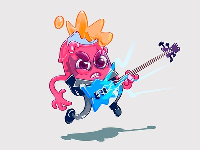 """I scream!"" rocker icecream guitarist rocker illustration character"