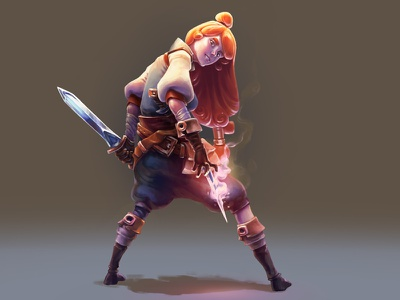 Dribbble fantasy illustration character hunter treasure girl rouge