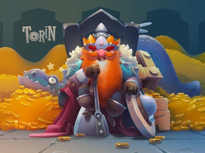 Torin fan art art illustration fantasy cave dungeon gold hero dragon dwarf gnome hobbit lord of the rings torin character