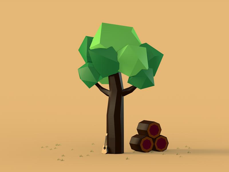 Low Poly | Rosewood Tree 3d design render low poly design cinema 4d 3d