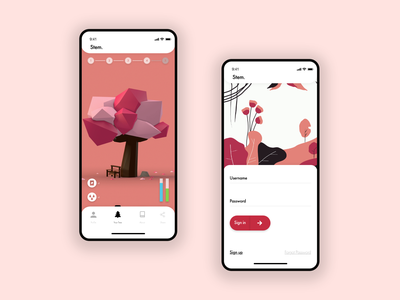 Stem. | Mobile App Intro & Login UI/UX Design adobe xd cinema 4d education app minimal nature mobile app design design 3d visual design dribbble user interface design ui mobile design mobile app mobile ui product design app design ui  ux ux design ui design