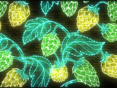 Grow Haus Neon Craft Beer Hops Design glow modern hops neon light neon sign neon lights logo beer photo beer art package design photoshop branding craft beer design neon colors neon