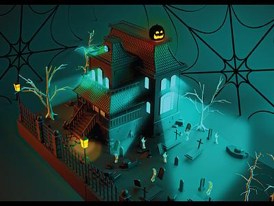 Haunted Haus - 3D Render - Craft Beer Label 3d render grave pumpkin spooky house haunted halloween vector logo beer art illustration package design photoshop craft beer branding design