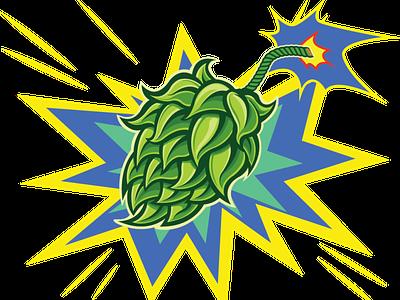 Strata Bing Strata Boom! - Hop Bomb label taste bomb explosion hop pop art book comic beer vector logo beer art illustration package design photoshop craft beer branding design