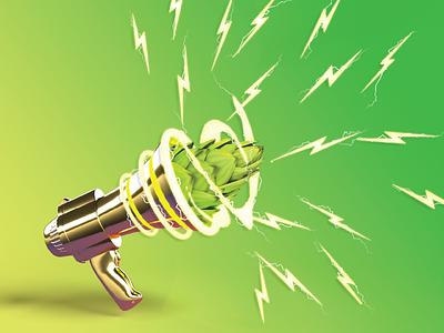 Revolution Nelson - Craft Beer Label Design megaphone zap electric bolt lightning yellow green graphic design 3d vector logo beer art illustration package design photoshop craft beer branding design