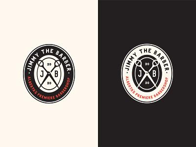 Jimmy The Barber (Alberta's Premiere Barbershop) Logo logotype covid hair scissors classic designer illustrator premiere alberta barbershop barber jimmy badge branding vintage logo
