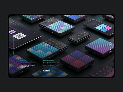 Noise LP visuals graphics user friendly content pixels landing page design solution idea bright colors dark background music app noise