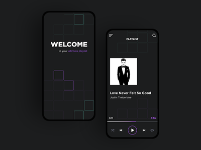 Music Player play button music project juicy ultimate violet color square dark music app music player playlist mobile version