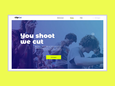 ClipCut LP clean design germany depo portfolio pricing production studio motion yellow landing page