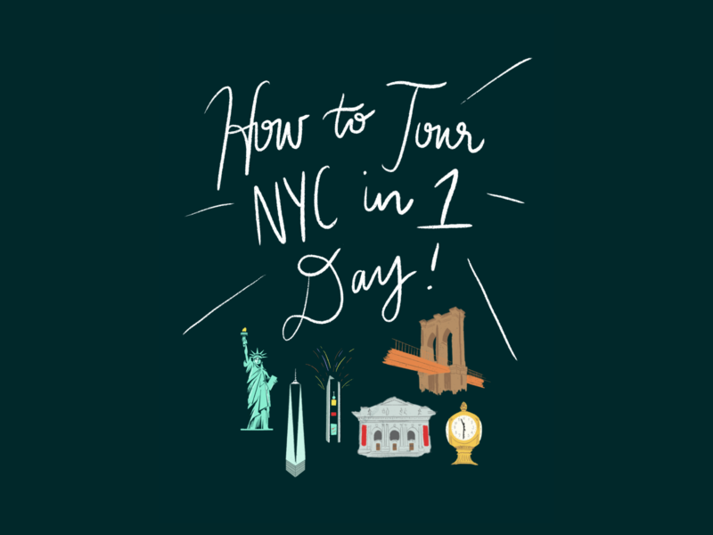 Illustration for Booklet: How to Tour NYC in 1 Day book design book cover booklet how to booklet the big apple new york city nyc letttering calligraphy procreate branding illustration graphic design typography
