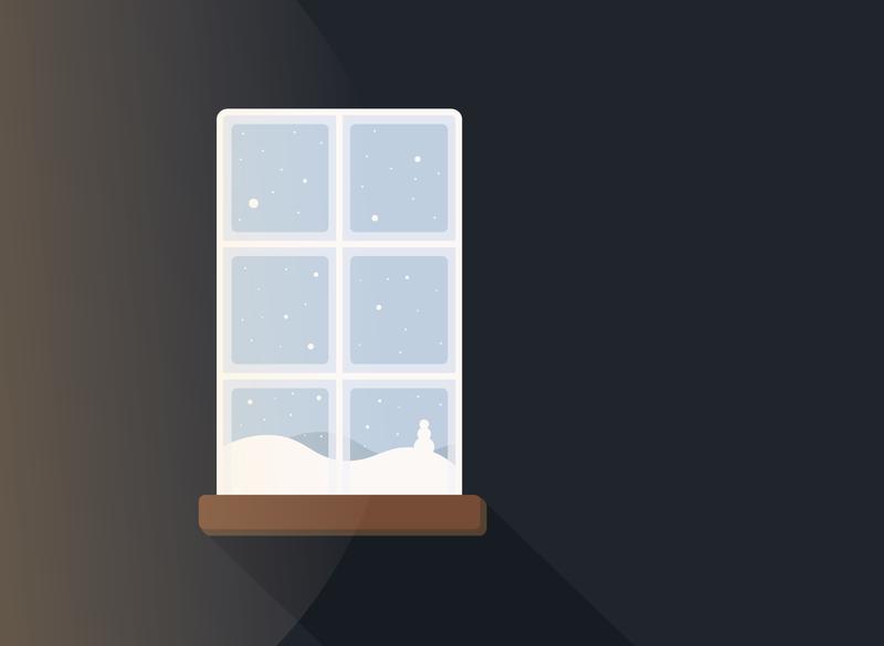 Snowy Window Graphic Illustration gradient shadows graphic designer indoors christmas snowy window snow window illustrator florida cedarville university ohio adobe illustrator central florida illustration graphic design