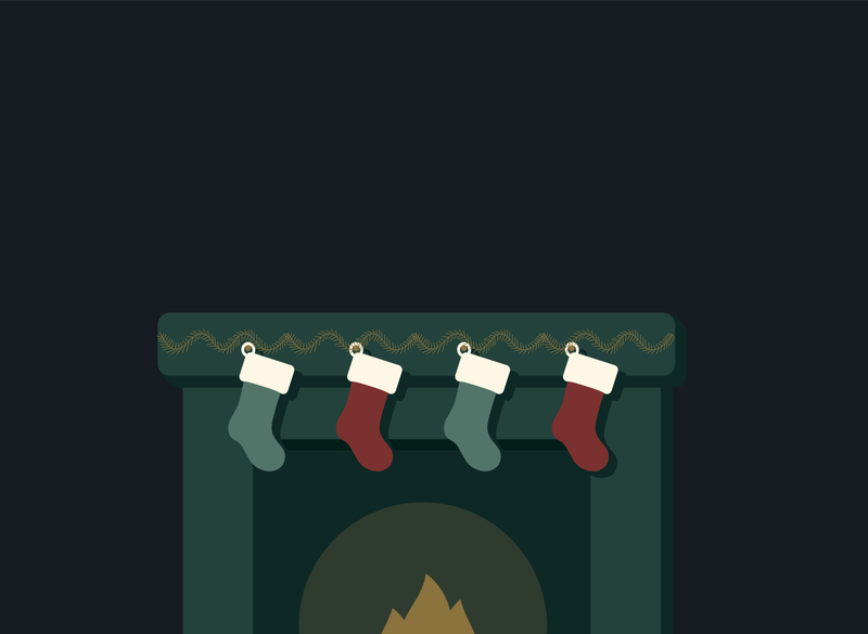 Fireplace with Hung Stockings Illustration scenery florida christmas card christmas event branding adobe illustrator illustrator indoors scene illustration graphic design ornamentation garland opacity glow fire christmas illustration christmas fireplace stockings