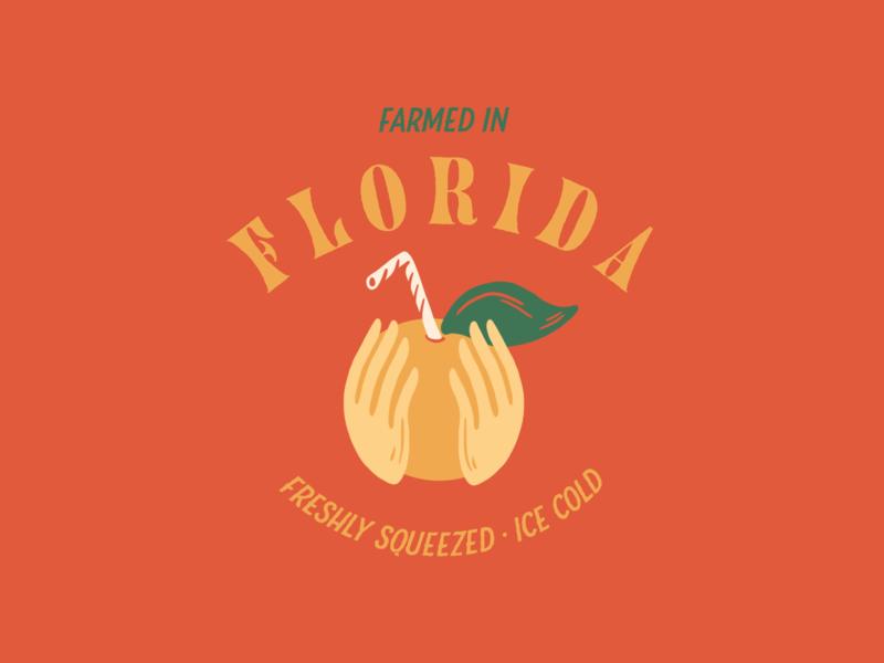 Freshly Squeezed Orange Juice - Illustration & Type orange juice distressed vector design adobe illustrator graphic design florida central florida typography illustration procreate bold color color palette orange